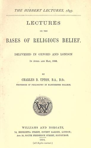 Download Lectures on the bases of religious belief.