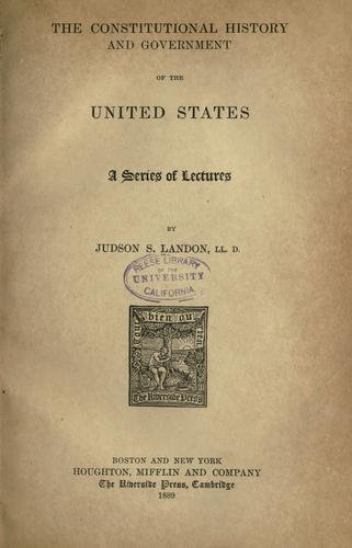 Download The constitutional history and government of the United States
