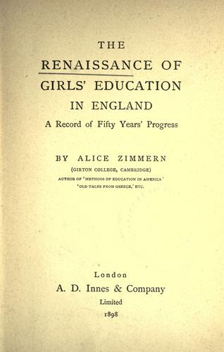 Download The renaissance of girls' education in England