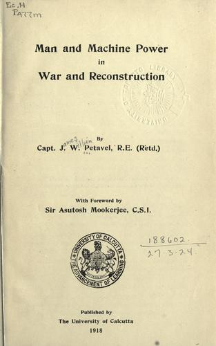 Download Man and machine power in war and reconstruction
