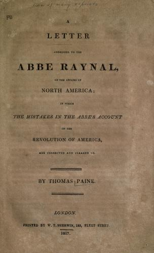 Download A letter addressed to the Abbe Raynal, on the affairs of North America
