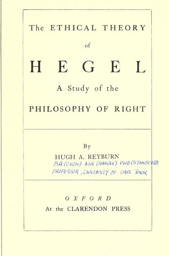 Download The ethical theory of Hegel