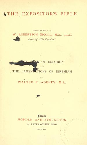 Download The Song of Solomon and the Lamentations of Jeremiah