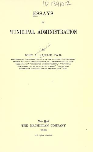 Download Essays in municipal administration