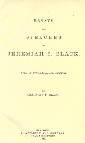 Download Essays and speeches of Jeremiah S. Black