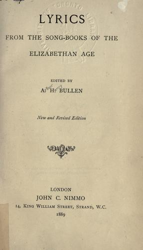 Download Lyrics from the song-books of the Elizabethan Age.