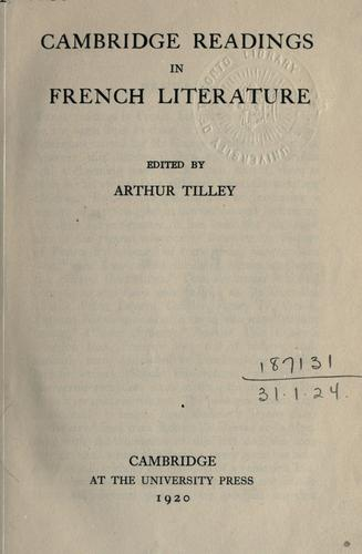 Cambridge readings in French literature.