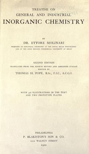 Treatise on general and industrial inorganic chemistry.