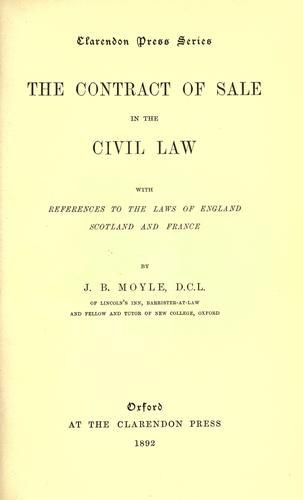 Download The contract of sale in the civil law