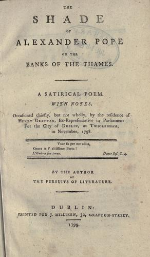 The shade of Alexander Pope on the banks of the Thames.