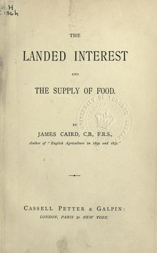 Download Landed interest and the supply of food.