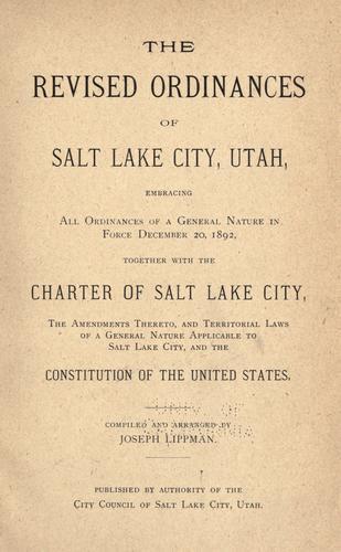 Download Revised ordinances of Salt Lake City, Utah