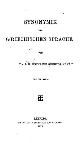 Synonymik der griechischen Sprache