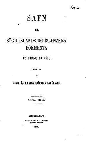 Safn til sögu Íslands og íslenzkra bókmenta að fornu og nýju