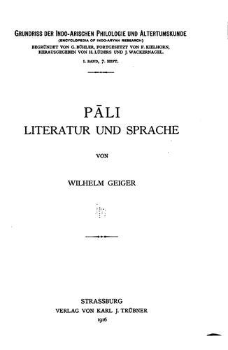 Grundriss der Indo-arischen Philologie und Altertumskunde