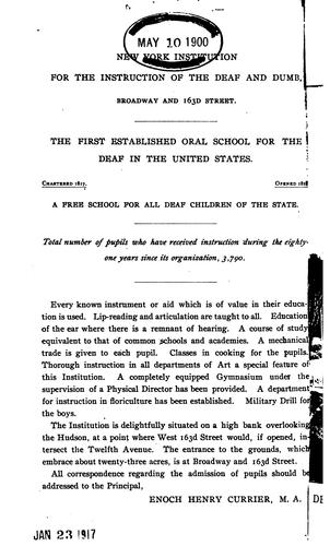 Annual Report of the New-York Institution for the Instruction of the Deaf and Dumb