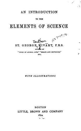 An Introduction to the Elements of Science