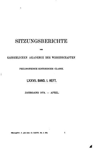 Sitzungsberichte der kaiserlichen Akademie der Wissenschaften, philosophisch-historische Classe