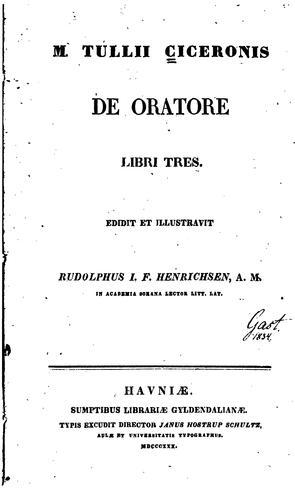 M. Tullii Ciceronis De oratore libri tres
