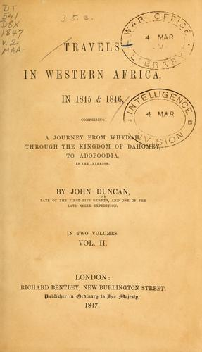 Travels in Western Africa, in 1845 & 1846