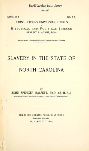 Download Slavery in the state of North Carolina