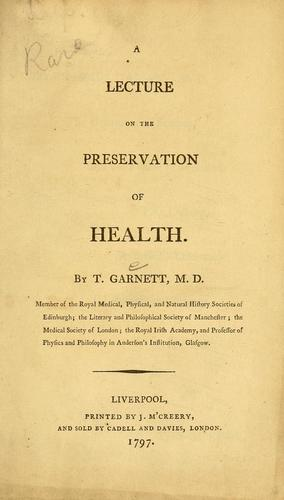 Download A lecture on the preservation of health.