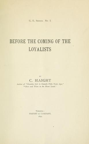 Download Before the coming of the loyalists