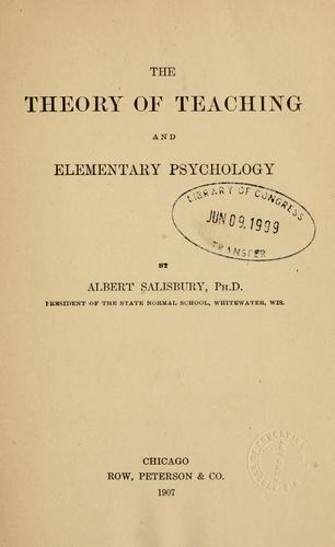 Download The theory of teaching and elementary psychology
