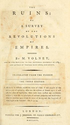 Download The ruins, or, A survey of the revolutions of empires