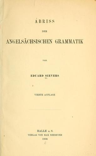 Abriss der angelsächsischen Grammatik