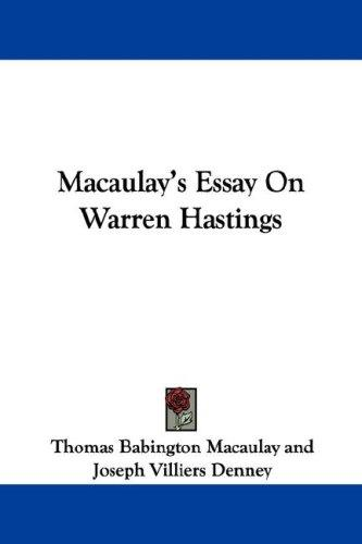 Download Macaulay's Essay On Warren Hastings