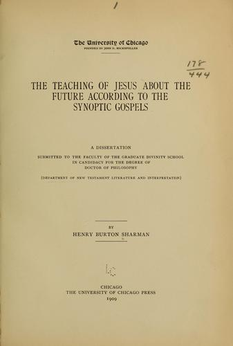 Download The teaching of Jesus about the future according to the synoptic gospels.