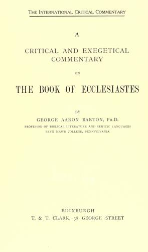 A critical and exegetical commentary on the book of Ecclesiastes.