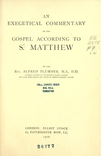An exegetical commentary on the Gospel according to S. Matthew.