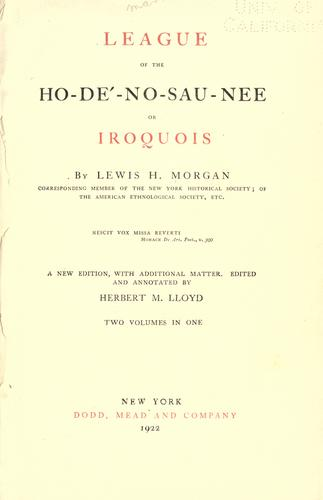 Download League of the Ho-dé-no-sau-nee or Iroquois
