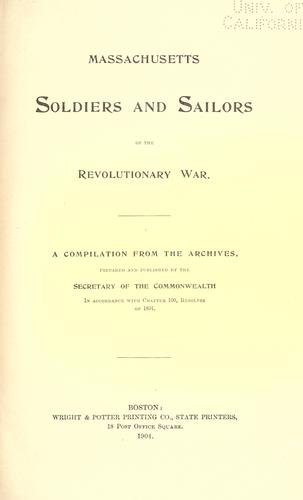 Download Massachusetts soldiers and sailors of the revoluntionary war.