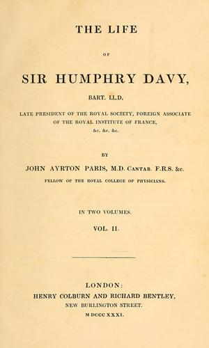 Download The life of Sir Humphry Davy, bart., LL.D.