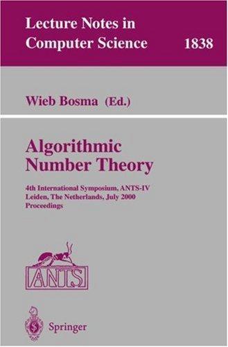 Algorithmic Number Theory 4 Symposium Wieb Bosma