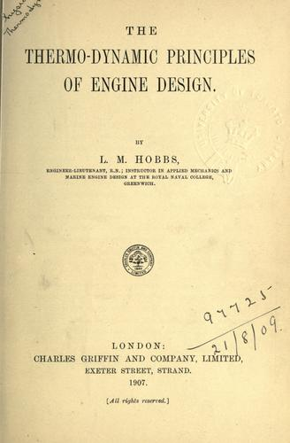 Download The thermo-dynamic principles of engine design.