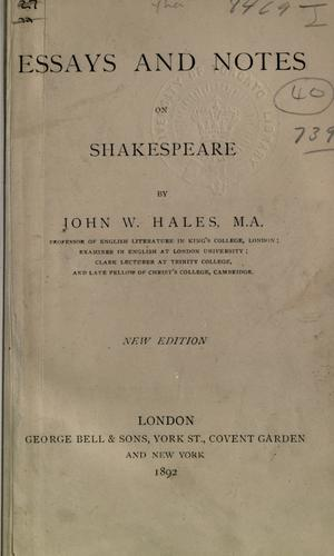 Download Essays and notes on Shakespeare.