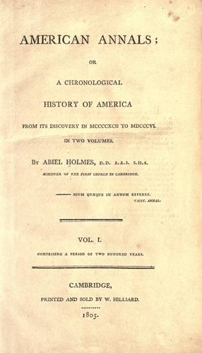Download American annals, or, A chronological history of America from its discovery in MCCCCXCII to MDCCCVI