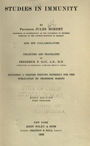 Studies in immunity