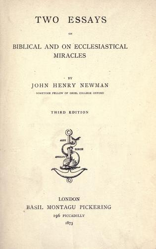 Download Two essays on Biblical and on ecclesiastical miracles