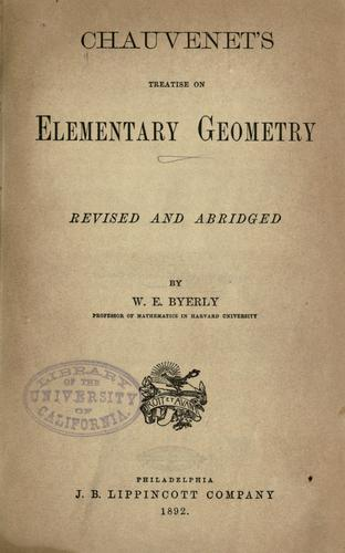 Download Chauvenet's treatise on elementary geometry