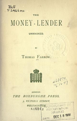 The money-lender unmasked