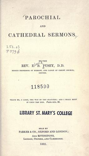 Parochial and cathedral sermons
