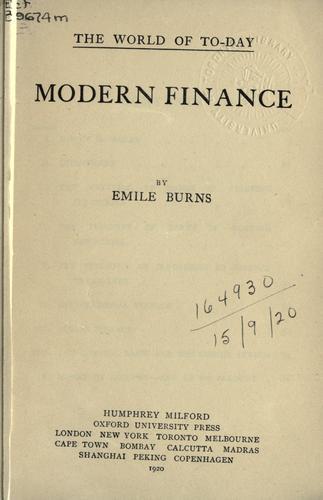 Modern finance.