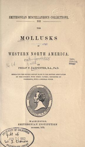 The mollusks of western North America.