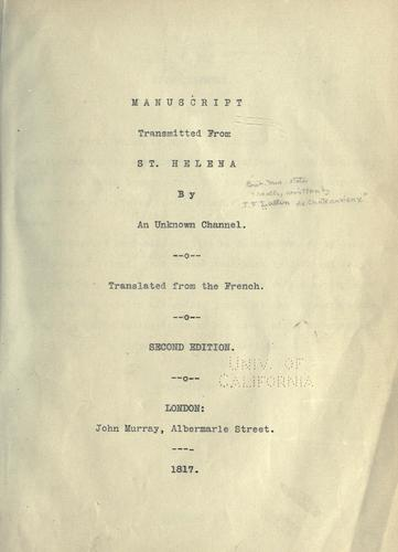 Download Manuscript transmitted from St. Helena, by an unknown channel.