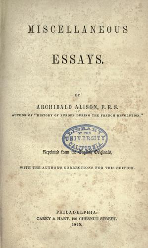 Miscellaneous essays